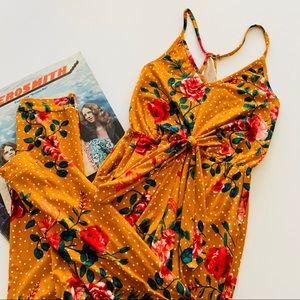 Derek Heart | Mustard Polka Dot & Floral Jumpsuit